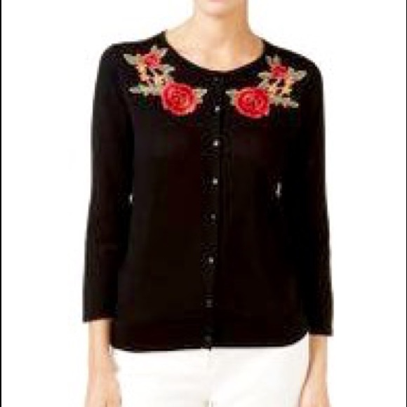 august silk Sweaters - AUGUST SILK cardigan with flowers application.